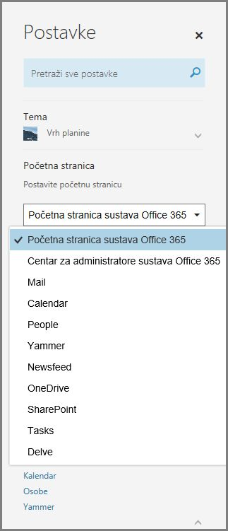 Promjena početne stranice sustava Office 365