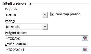 Postavke kriterija provjere valjanosti radi ograničavanje unosa datuma na određeno vremensko razdoblje
