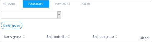 Snimka zaslona: Dodavanje grupe podređenu Kaizala u nadređenoj grupi