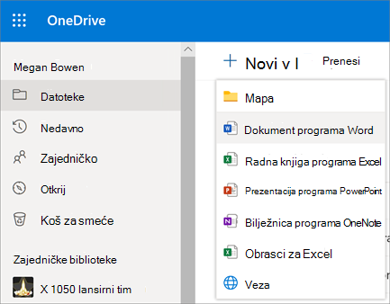 Novi izbornik datoteka ili mapa na servisu OneDrive za tvrtke