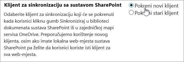 Administratorska postavka za klijent za sinkronizaciju servisa OneDrive