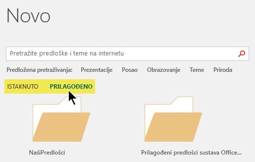 Kartice se prikazuju ispod okvira za pretraživanje ako su prilagođene lokacije definirani za spremanje predložaka