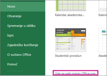 kliknite Više na web-mjestu Office.com
