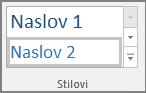 Snimka zaslona s prikazom odabira stila naslova na izborniku Polazno.
