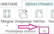 Pokretač dijaloškog okvira postavljanje stranice