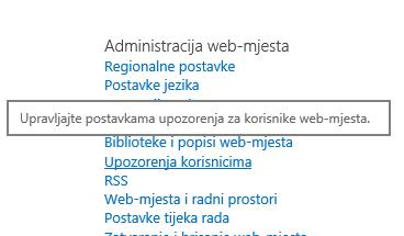 Veza web-mjesta Administracija web-mjesta postavke korisnika upozorenja