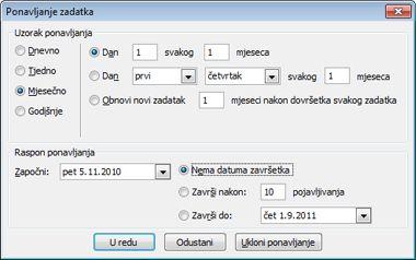 dijaloški okvir ponavljanje zadatka