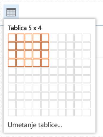 Dodajte jednostavnu tablicu u aplikaciji Outlook na webu.