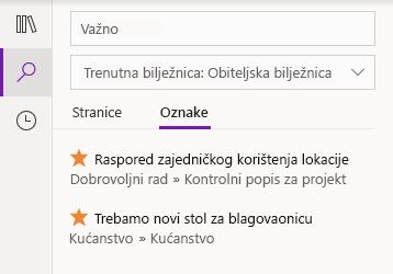 Rezultati pretraživanja oznaka u aplikaciji OneNote za Windows 10