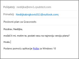Popunite predmet i tijelo poruke e-pošte pa kliknite Pošalji.