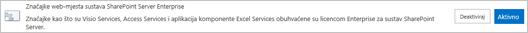 Aktiviranje značajke web-mjesta sustava SharePoint Server Enterprise
