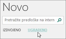 Snimka zaslona kategorija ugrađenih predložaka u programu Publisher.