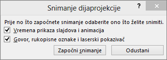 Pokazuje dijaloški okvir za snimanje dijaprojekcije u programu PowerPoint