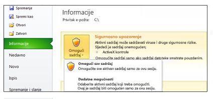 Sigurnosno upozorenje u slučaju kada datoteka nije pouzdana