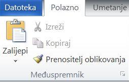 Grupa Međuspremnik na kartici Polazno u programu Word