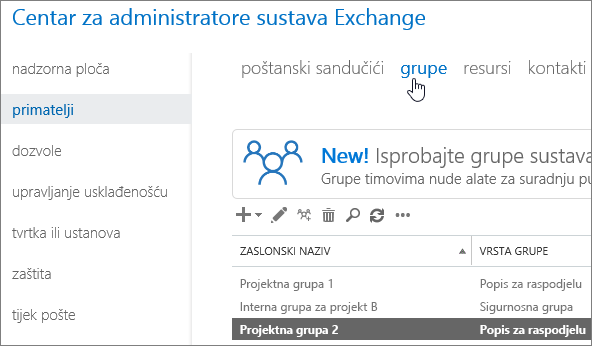 Finding groups in the Exchange Admin Center