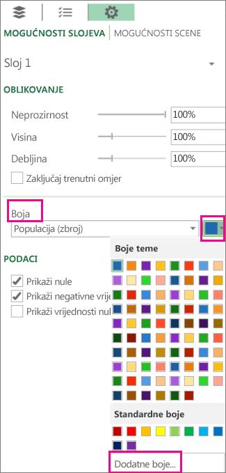 Padajući popis boja na kartici Mogućnosti postavki sloja