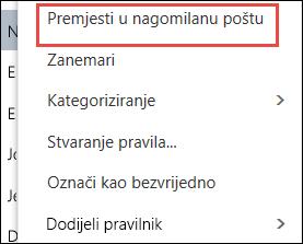 Premještanje u mapu Nagomilana e-pošta