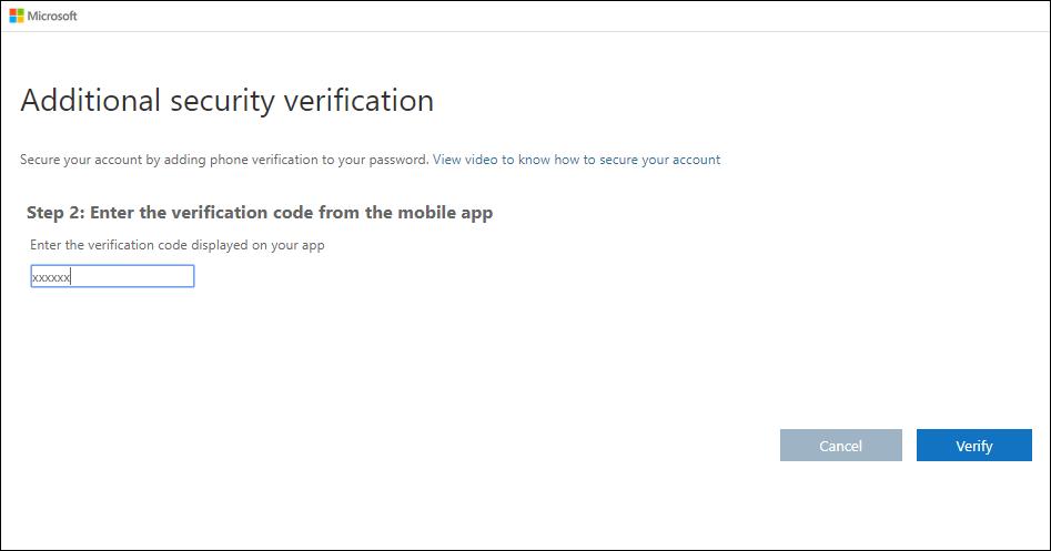 Dodatna stranica sigurnosne provjere valjanosti s testom koda za provjeru valjanosti
