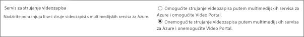 Onemogućite postavku za Office 365 Video u centru za administratore sustava SharePoint Online