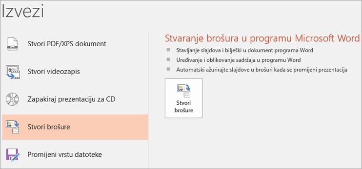 Isječak zaslona korisničkog sučelja programa PowerPoint prikazuje datoteke > izvoz > Stvori brošure.