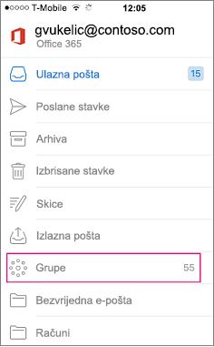 Grupa je čvor na popisu mapa u programu Outlook mobilne