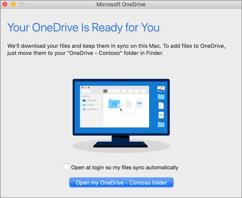 Snimka zaslona na kojoj je prikazan posljednji zaslon u čarobnjaku Dobro došli u OneDrive na računalu Mac