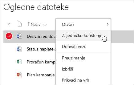 Snimka zaslona na kojoj se prikazuje izbornički prečac za dokument s aktivnom mogućnošću Zajedničko korištenje.
