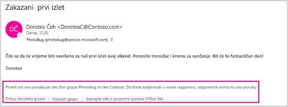 Sve poruke e-pošte koje gost primi od članova grupe imat će zaglavlje s uputama i vezama
