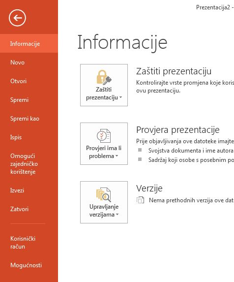 Nova stranica na kartici Datoteka