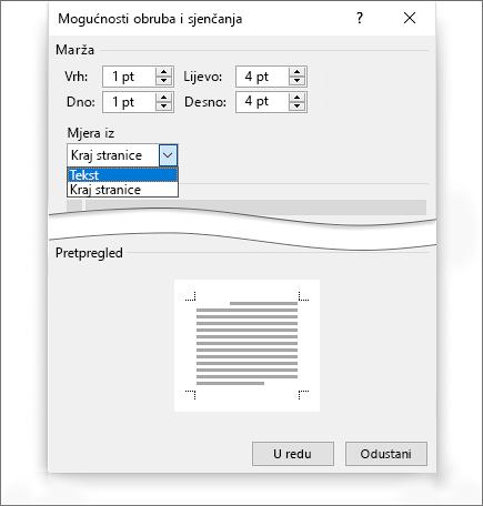 Sjenčanje obruba stranice