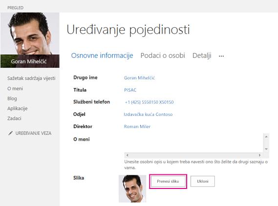 Snimka zaslona sa okvirom Promjena slike s istaknutim gumbom Prenesi sliku