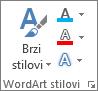 Grupa WordArt stilova u kojoj su prikazane samo ikone