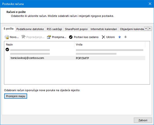 Dijaloški okvir Postavke računa u programu Outlook