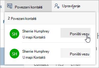 Snimka zaslona gumba Prekini vezu u izborniku povezani kontakti