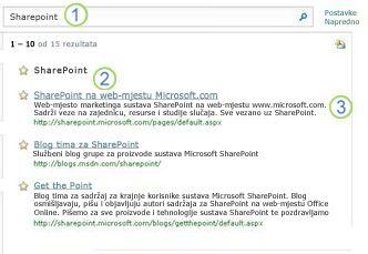 Tri prijedloga za SharePoint Server pojavljuju se pri vrhu stranice s rezultatima pretraživanja
