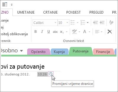 U programu OneNote možete promijeniti vrijeme stvaranja stranice.