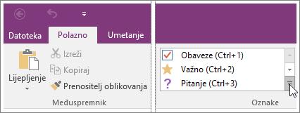 Snimka zaslona popisa oznaka u programu OneNote 2016.