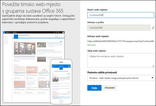 Novo timsko web-mjesto sustava SharePoint