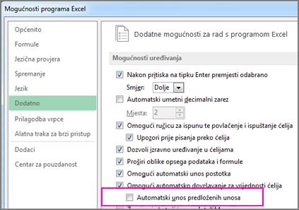 Omogućivanje funkcije Pregled predloženih unosa ako je isključena