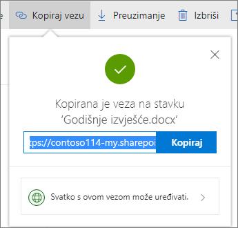 Kopiranje veze na servisu OneDrive za tvrtke