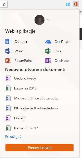 Kliknite Office Online datotečni nastavak u Chrome proširenja traku da biste otvorili ploču za Office Online.