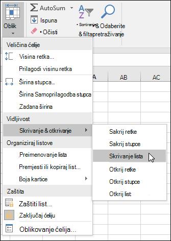 Sakrivanje ili otkrivanje radnih listova iz polaznih > ćelija > obliku > vidljivost > skrivanje & otkrivanje