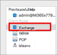Pravila klijenta sustava Exchange
