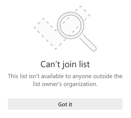 """Poruka o pogrešci za zajedničko korištenje popisa iz Microsofta na kojoj piše """"ne može se pridružiti popis. Ovaj popis nije dostupan nikome izvan tvrtke ili ustanove vlasnika popisa. """""""