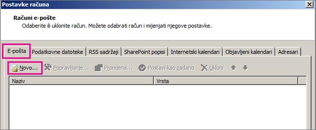 Snimka zaslona kartice E-pošta u dijaloškom okviru Postavke računa