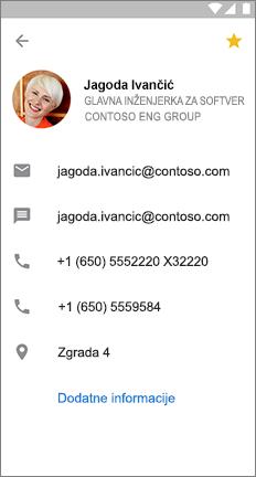 Kartica profila s žutom zvijezdom koja upućuje na to da je ovaj kontakt favorit