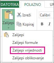 Naredba Zalijepi s mogućnošću Zalijepi vrijednosti u web-aplikaciji Excel Web App