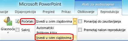 """Mogućnost """"Reproduciraj svim slajdovima"""" za zvučne datoteke u programu PowerPoint 2010"""