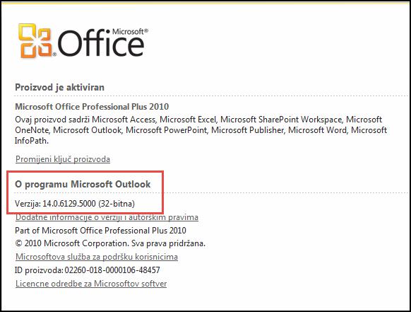 Snimka zaslona stranice na kojoj možete provjeriti verziju programa Outlook 2010 u odjeljku O programu Microsoft Outlook.